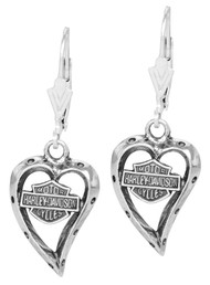 Harley-Davidson® Women's Bar & Shield Dangle Heart Earrings HDE0133