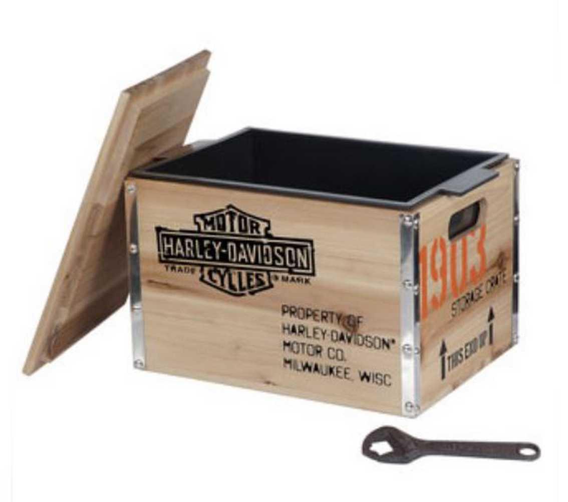 Harley Davidson 1903 Vintage Wooden Crate Cooler 13 75 X 10 X 10 25