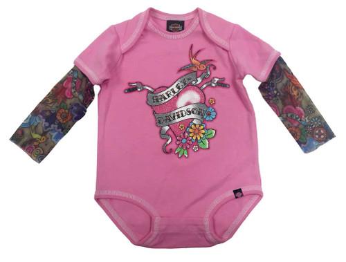 Harley-Davidson® Baby Girls' Glitter Infant Creeper, Mesh Tattoo Sleeves 3010611 - Wisconsin Harley-Davidson