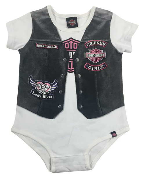 Harley-Davidson® Baby Girls' Printed-On Motorcycle Vest Infant Creeper, 3010627