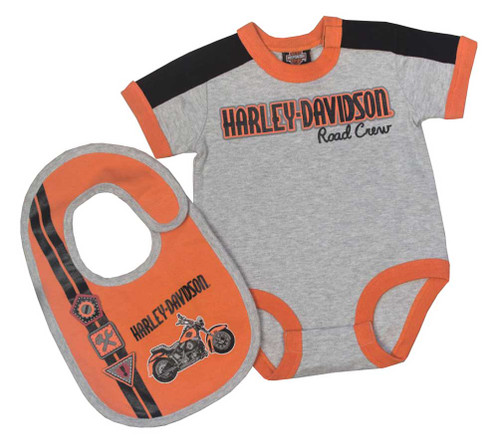 Harley-Davidson® Baby Boys' Interlock Infant 2 Piece Creeper w/ Bib Set 3061659