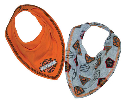 Harley-Davidson® Baby Boys' Interlock 2 Pack Bandana Bibs, Orange & Gray 7051627