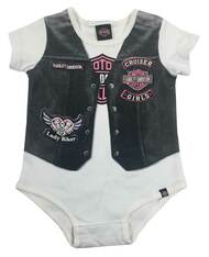 Harley-Davidson® Baby Girls' Printed-On Motorcycle Vest Newborn Creeper, 3000627 - Wisconsin Harley-Davidson