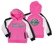 Harley-Davidson® Little Girls' Glittery Raglan Hooded Sweatshirt, Pink 6531607 - A
