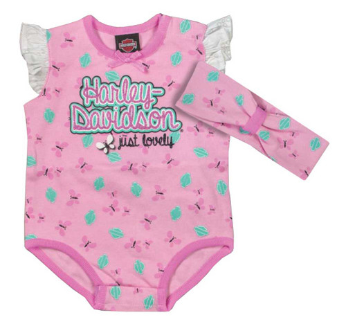 Harley-Davidson® Baby Girls' Glittery 2 Piece Creeper Set w/ Headband 3001619