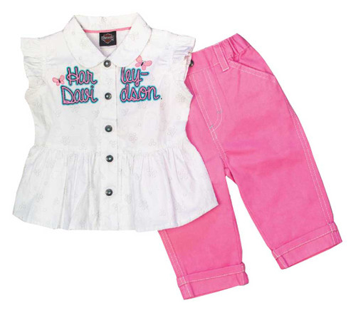 Harley-Davidson® Baby Girls' 2 Piece Woven Infant Pant Set, Pink/White 2011625
