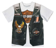 Harley-Davidson® Little Boys' Printed-On Motorcycle Vest Short Sleeve Tee 1072625 - Wisconsin Harley-Davidson