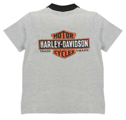 Harley-Davidson® Big Boys' Bar & Shield Short Sleeve Pique Polo, Gray 1091637 - A