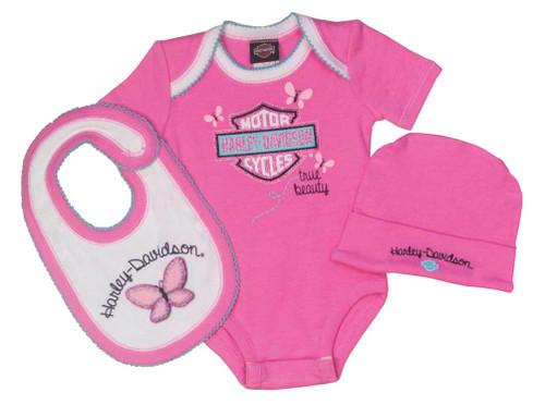 Harley-Davidson® Baby Girls' Glittery 3 Piece Creeper Gift Box Set, Pink 2501615 - A