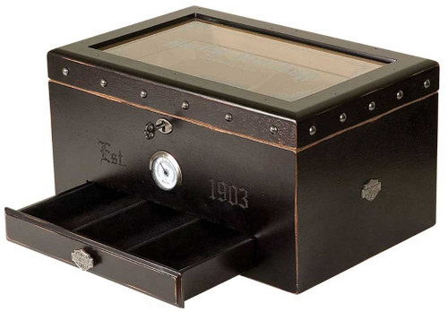 Harley-Davidson® Cigar Humidor - Distressed Black Finish HDL-19650