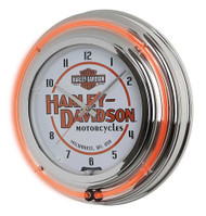 Harley-Davidson® Motorcycle Double Neon Bar & Shield Clock, Orange Neon HDL-16623 - Wisconsin Harley-Davidson