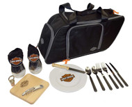 Harley-Davidson® Saddlebag Picnic Set, Bar & Shield Logo, Black 435-42