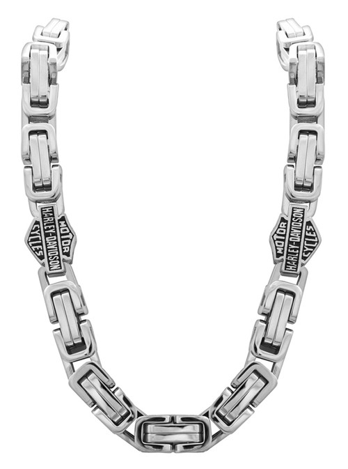 HarleyDavidson Mens Stainless Steel Double Link Necklace Silver