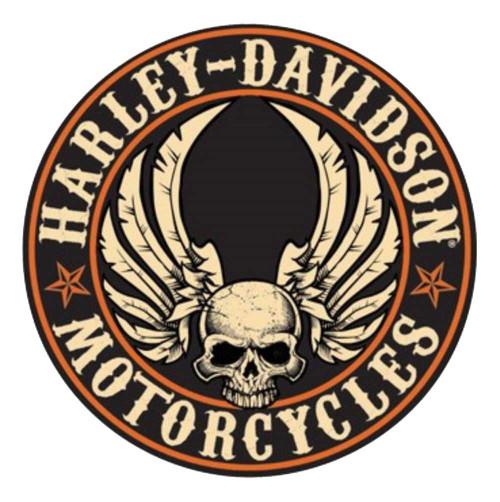harley davidson embossed flying skull button round tin sign 14 rh wisconsinharley com harley davidson skull logo vector harley davidson skull logo images