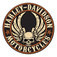 Harley-Davidson® Embossed Flying Skull Button Round Tin Sign, 14 inch 2011281 - Wisconsin Harley-Davidson