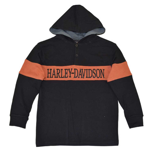 Harley-Davidson® Big Boys' Rugby Hoodie, H-D Pullover Sweatshirt, Black 4291390