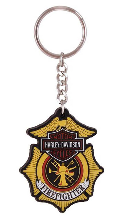 Harley-Davidson® Firefighter Original Bar & Shield Rubber Keychain KY126583