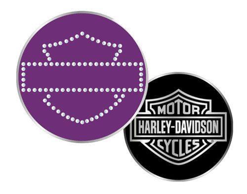 Harley-Davidson® Bar & Shield Rhinestone Challenge Coin 1.75'' Purple 8003067