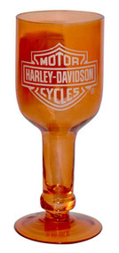 Harley-Davidson® Wine Bottle Glasses, Bar & Shield 14 oz Orange 3BCG4900 Set of 4 - Wisconsin Harley-Davidson