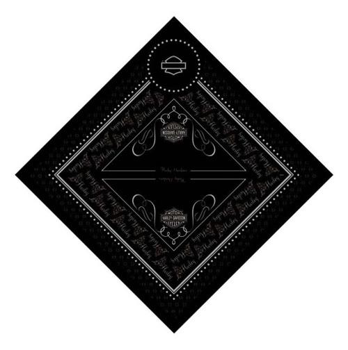 Harley-Davidson® Flutter Glitter Black Bar & Shield Bandana, 24'' x 24'' BA128830
