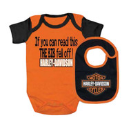 Harley-Davidson® Baby Boys' Interlock B&S Creeper & Bib Set, Orange 3050413
