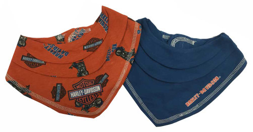 Harley-Davidson® Baby Boys' Motorcycle Bandana Bibs Gift Set, Orange/Blue 7051563
