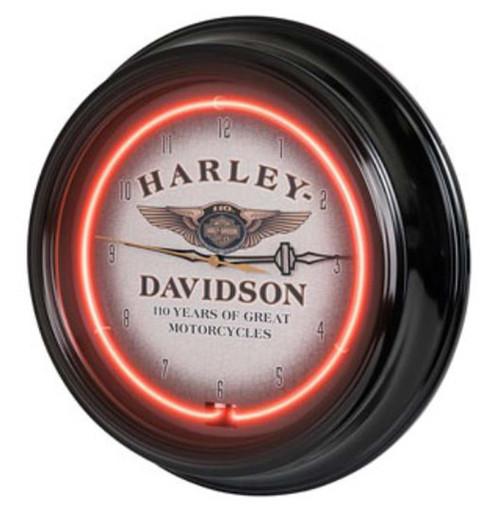 Harley-Davidson® 110th Anniversary Bar & Shield Red Neon Clock HDL-16628