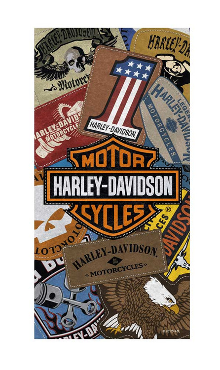 Harley-Davidson® Beach Towel, H-D Bar & Shield Patches, 30 x 60 Inch 11897