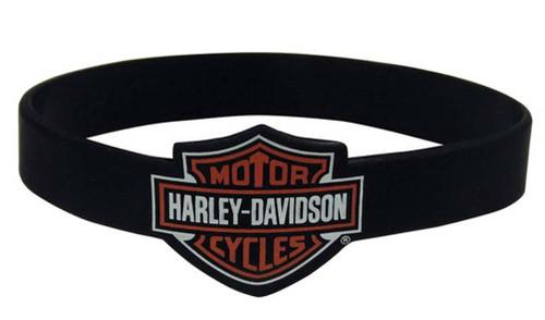 Harley-Davidson® Bar & Shield Black Silicone Wristband, 1/2 Inches Thick WB30230