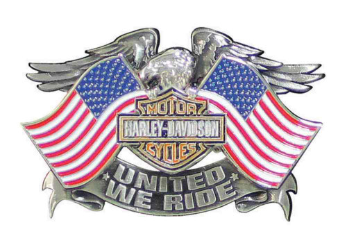 Perfect Harley Davidson® Menu0027s United We Ride Pin, Eagle American Flags Graphic  P125844