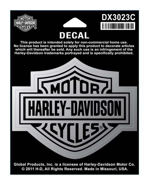 Harley-Davidson® Bar & Shield Medium Size Chrome Decal DX3023C
