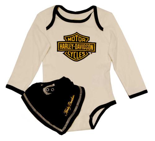 Harley-Davidson® Baby Girls' Creeper & Bib Set, Gold B & S Gift Set 4312398 - A