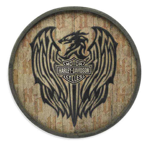 Harley-Davidson® Barrel End Wooden Crest Sign Plywood 23in, Bar Garage. 96830-16V