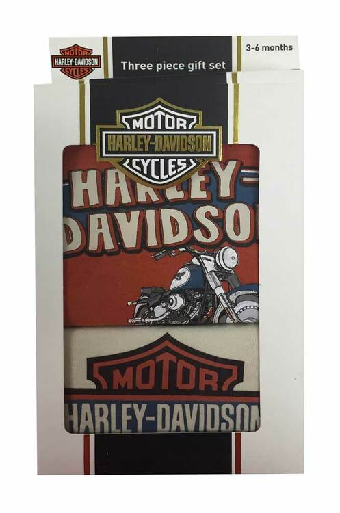 Harley-Davidson® Baby Boys' Creeper Gift Box Set, Retro Motorcycle Orange 2551559 - Wisconsin Harley-Davidson