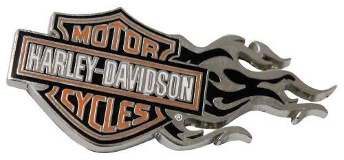 Harley-Davidson® Flaming Bar & Shield Logo Pin Orange/Silver 1.75 x .75 in V51999