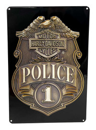 Harley-Davidson® Police Shield Tin Metal Sign 17 x 12 Inches 2010161 - Wisconsin Harley-Davidson