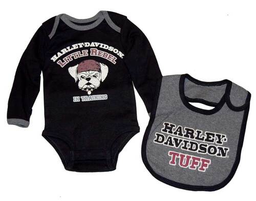 Harley-Davidson® Baby Boys' Creeper & Bib Set, Little Rebel Gift Set 4352396