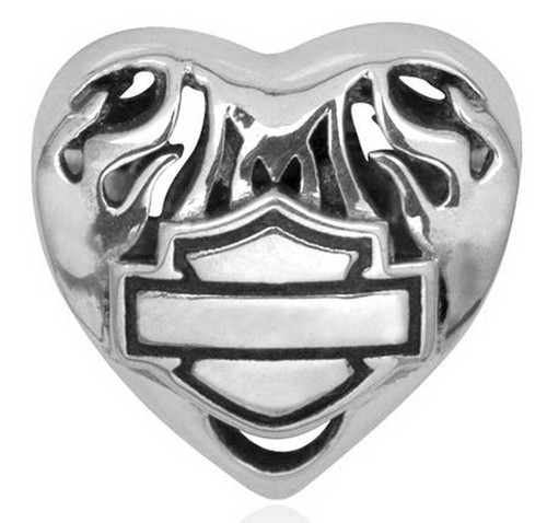 Harley-Davidson® Flaming Heart Bar & Shield Sterling Silver Ride Bead HDD0052