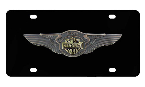 Harley-Davidson® 110th Anniversary Bar & Shield License Plate Black HDLPDK237