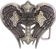 Harley-Davidson® Women's Back Roads Cross Winged Belt Buckle Chrome HDWBU10453