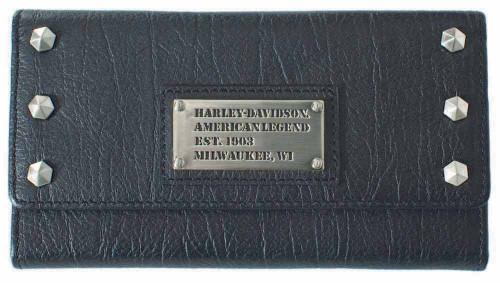 Harley Davidson Womens All Bark Black Trifold Clutch Wallet AB7790L-Black