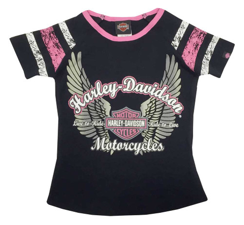 Harley-Davidson® Big Girls' Glittery Winged B&S Sporty Tee, Black/Pink 1040569