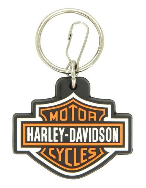 Harley-Davidson® Bar & Shield Logo Key Chain, Rubberized Material, Orange 4179