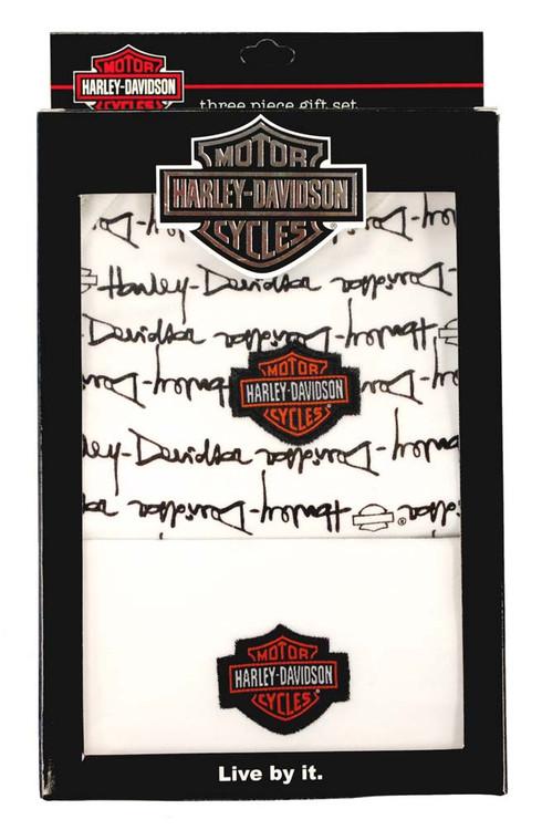Harley-Davidson® Baby Boys' Black Cotton Bib, Bodysuit & Hat 3-PC Set S9LBL60HD - A