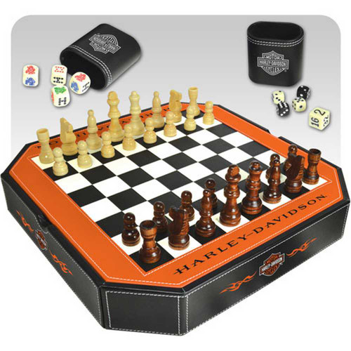 Harley-Davidson® 4 in 1 Game Set  Checkers, Chess, Backgammon, Dice 66917