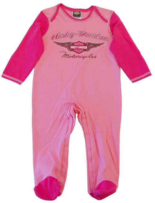 Harley-Davidson® Baby Girls' Footed Coverall Sleeper, Two Toned Pink. F9LGI88HD - A