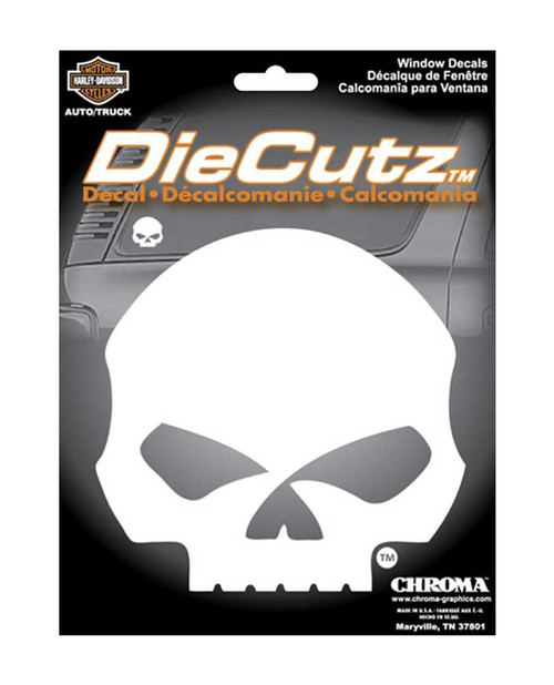 Harley-Davidson® Die Cutz Willie G Skull Decal, High Quality White Vinyl CG40017