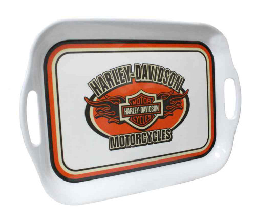 Harley-Davidson® Flaming Bar & Shield Melamine Serving Tray, 16 inch HD-HD-908