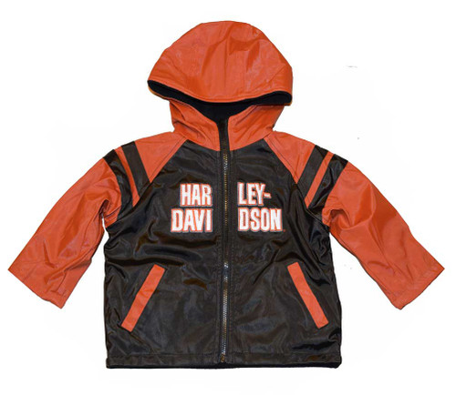 Harley-Davidson® Big Boys' Windbreaker Jacket, Teen Reversible Coat Black 4296068 - D