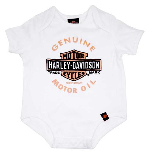 Harley-Davidson® Baby Boys' Interlock Genuine Bar & Shield Creeper, White 0253090